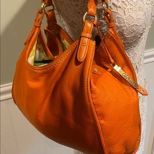 Large Cole Haan Orange Pebbled Leather Hobo Bag